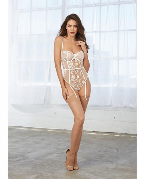 Mesh Teddy White Embroidery, Straps & Snap Crotch Nude Sm