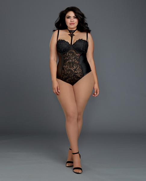 Venice Lace, Faux Leather Teddy Snap Crotch Black 1X