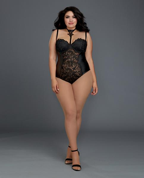 Venice Lace, Faux Leather Teddy Snap Crotch Black 3X