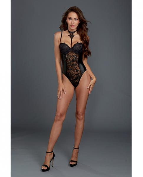 Venice Lace, Faux Leather Teddy Snap Crotch Black Lg