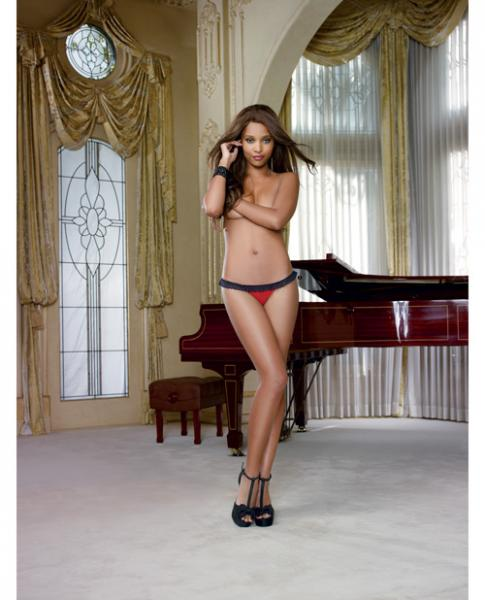 Stretch Mesh Spandex Lace Panty Black/Red XL
