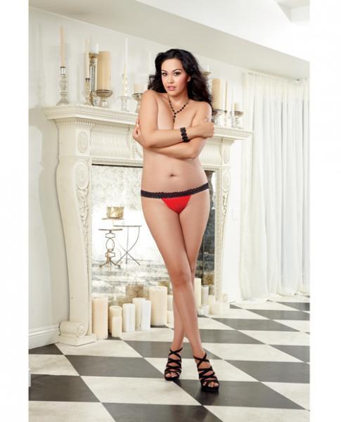 Stretch Mesh Spandex Lace Panty Black/Red 3X/4X