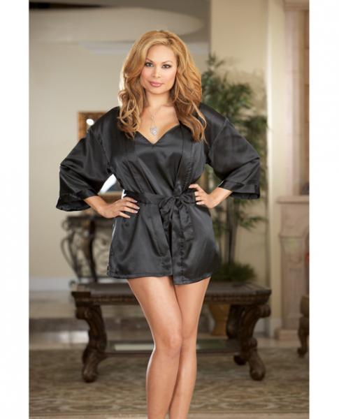 Charmeuse Short Kimono Robe, Chemise Black 1X/2X