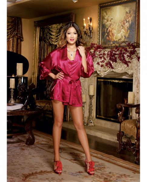 Charmeuse Short Kimono, Chemise Red Large
