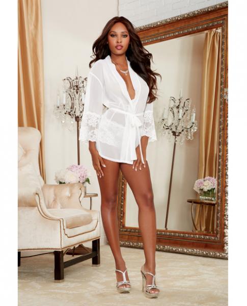 Chiffon Lace Short Kimono Robe & Cheeky Panty White Sm