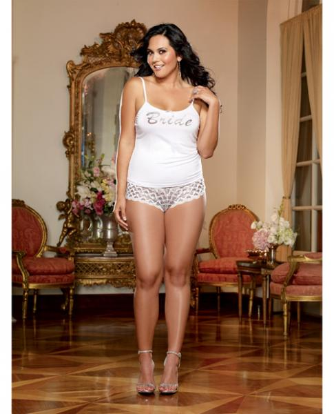 Nuptial Bride Soft Tank Heart Boyshorts White 3X/4X