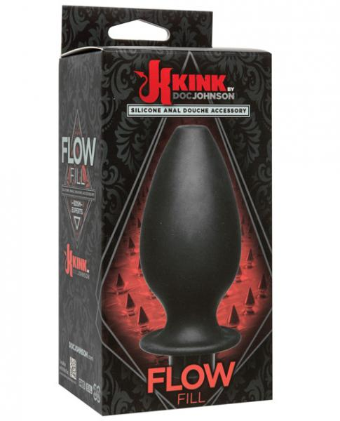 Kink Flow Silicone Anal Douche Accessory Full Flush Out Black