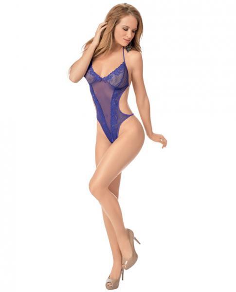 Halter Tie Open Crotch Teddy Purple O/S