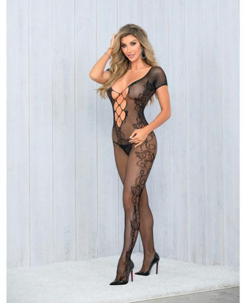 Lattice Front & Back Crotchless Bodysuit Black O/S