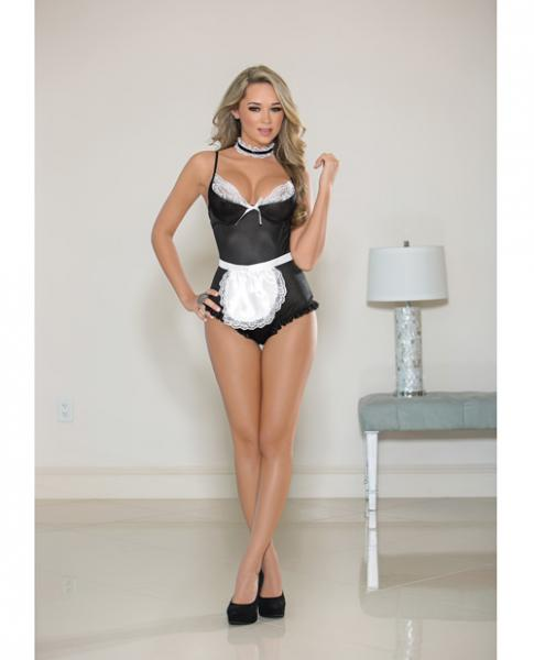 Fetish Maid Teddy Set Black White O/S