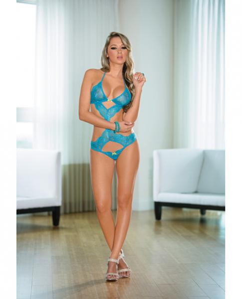 Lace Teddy with Cutouts Ocean Blue Lime O/S
