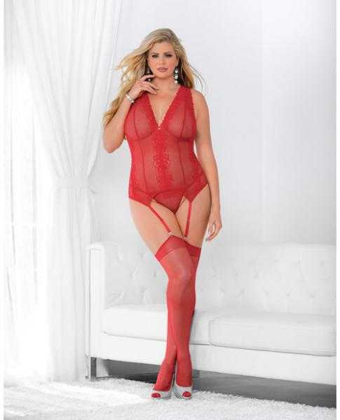 Jeweled Front Criss Cross Bustier with Hose Red Qn