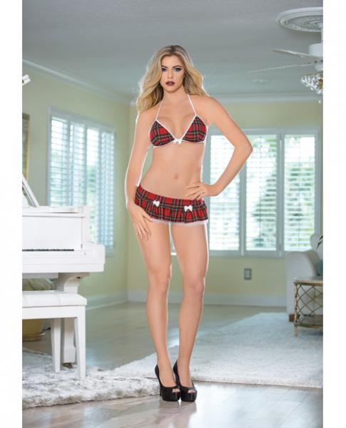 Halter Tie Tri Top, Micro Skirt & G-String White Red O/S
