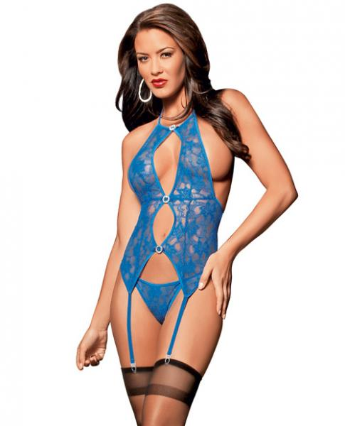 Jeweled Bustier, Panty & Thigh Highs Royal O/S