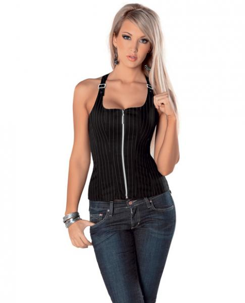 Adjustable Buckle Strap Corset Front Zipper & Soft Boning - Black/White Pinstripe 32