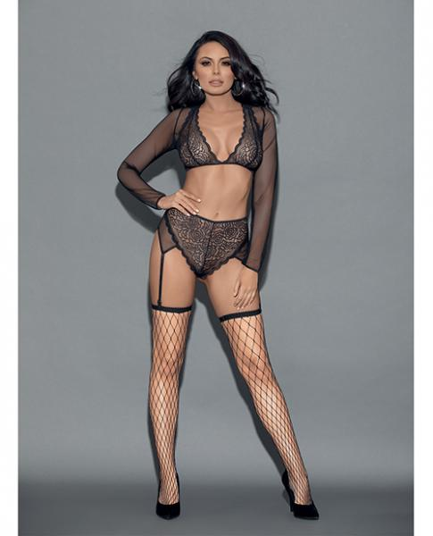 Euphoria Long Sleeve Top, Panty Garter & Hose Black O/S