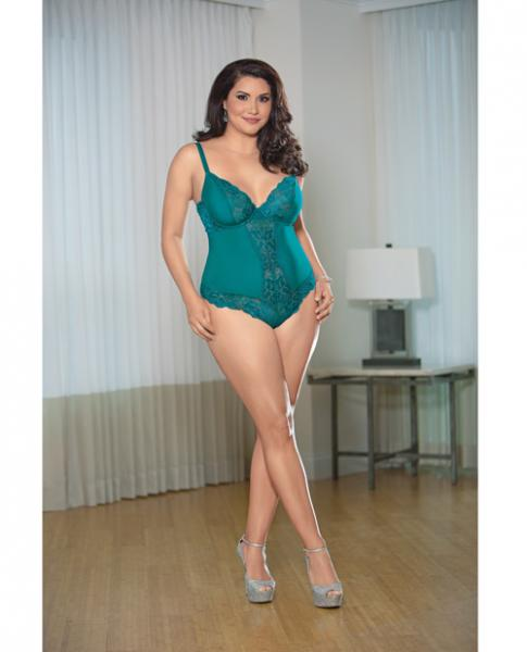 Lace Teddy Open Back Teal Green 3X