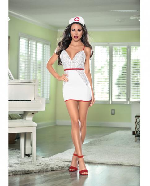 Nurse Hott Bedroom Costume White Red Large
