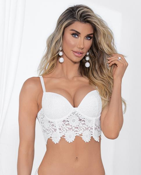 Guipure Lace, Lycra Bra Molded Cups & Adjustable Straps White 34
