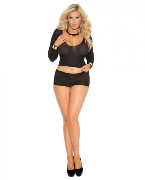 Long Sleeves Cami Top & Booty Shorts Ruched Back Black OQ