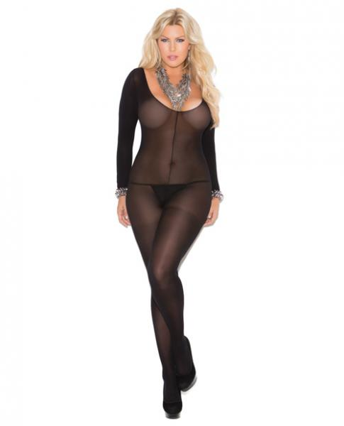 Long Sleeves Bodystocking Open Crotch Black Qn