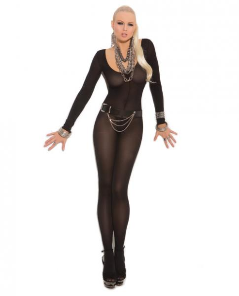 Long Sleeves Bodystocking Open Crotch Black O/S
