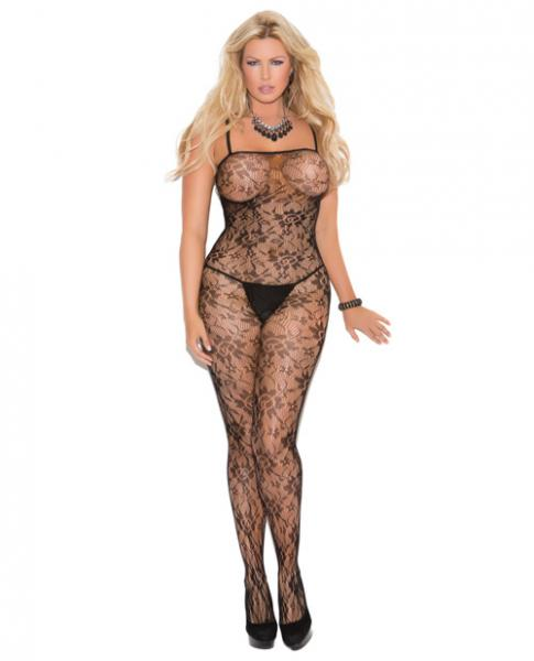 Rose Lace Bodystocking Open Crotch Black OS/Qn