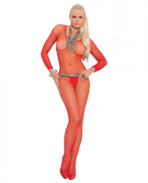 Fishnet Long Sleeves Bodystockings Open Crotch Red O/S