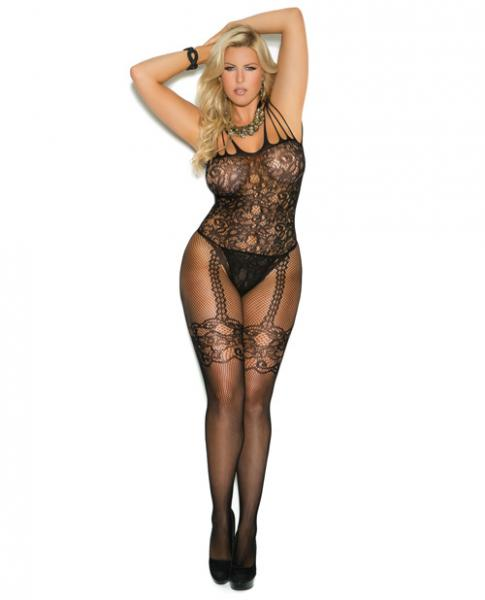 Fishnet & Lace Bodystocking Open Crotch Black Qn