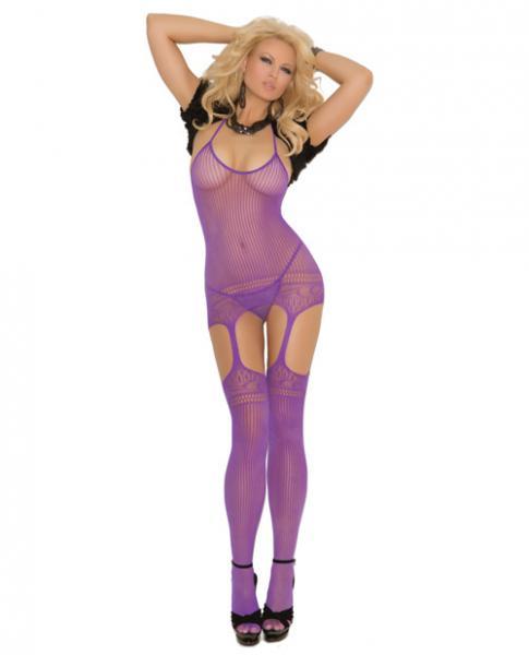 Halter Neck Suspender Bodystocking Cut Out Design Purple Qn