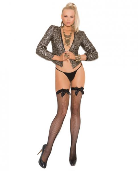 Fishnet Thigh High Stockings Satin Bow Black O/S