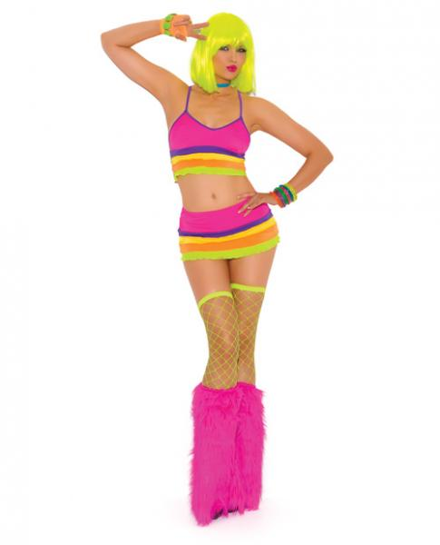 Neon Nites Lycra Bra Top & Mini Skirt Neon O/S