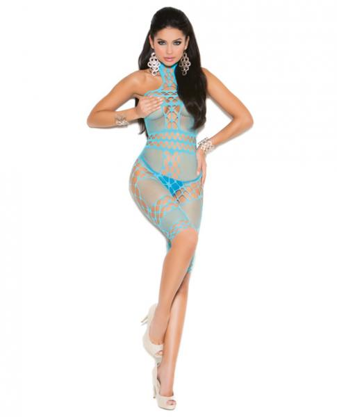 Vivace Halter Neck Mid Length Bodystocking Turquoise O/S