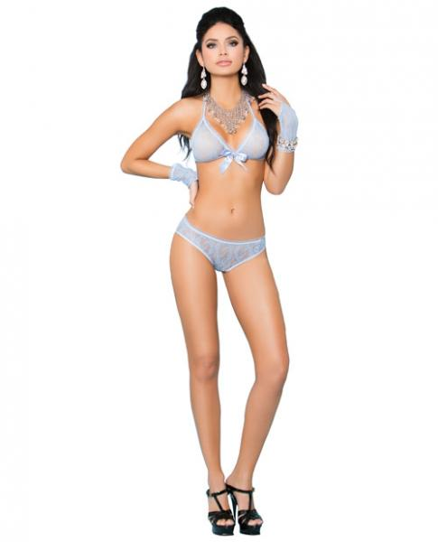 Lace Bra, Booty Shorts Ruched Back & Gloves Baby Blue O/S