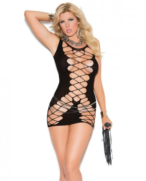 Vivace Seamless Crochet Mini Dress Black Qn