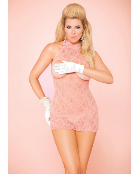 Vivace Cupless Lace Dress Coral Pink Qn