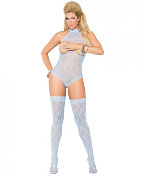 Vivace Cupless Lace Teddy and Stockings Blue Qn