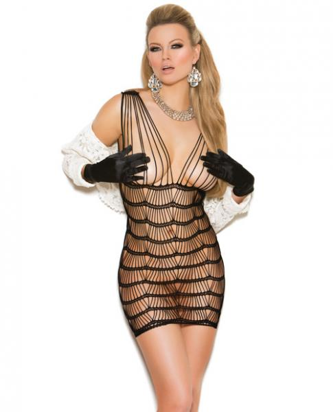Vivace Vertical Striped Mini Dress Black O/S