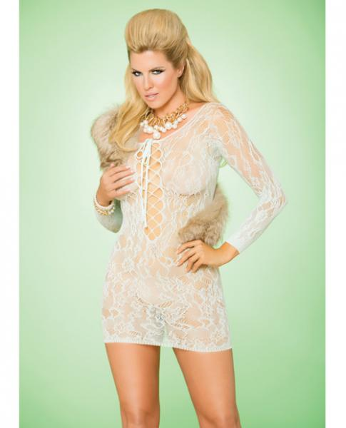 Vivace Long Sleeve Lace Mini Dress Mint Green Qn
