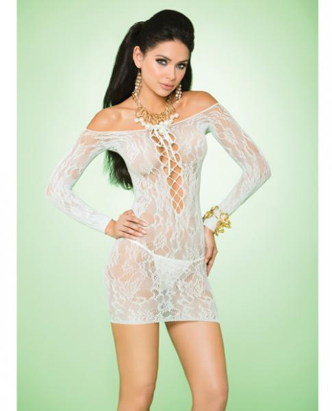 Vivace Long Sleeve Lace Mini Dress Mint Green O/S