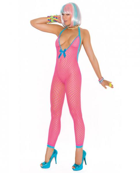Crochet Bodystocking Peek-A-Boo Back Neon Pink O/S