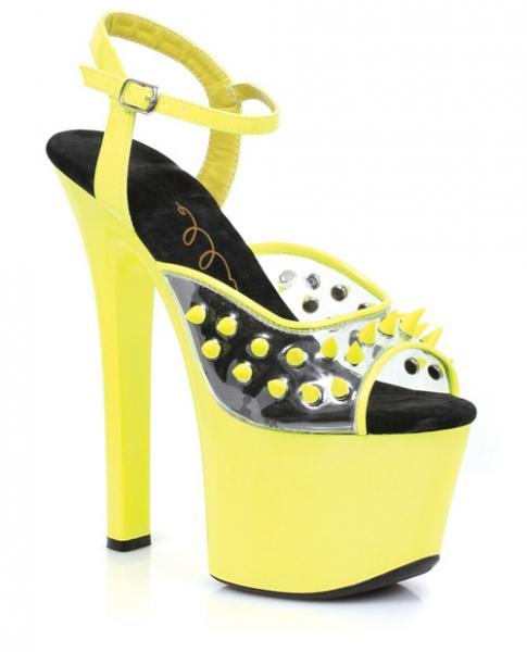 "Ellie Shoes Solar 7"" Neon Platform Black Light Reactive Spikes Yellow Ten"