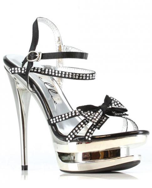 "Ellie Shoes Tess 6"" Rhinestone Strap Heel w/Bow Black Seven"