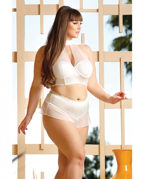 Premiere Embroidered Halter Bra & Panty White 1X