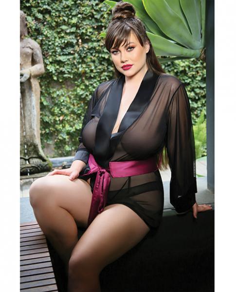 Premiere Nancy Kimono Robe & Panty Black Berry 3X/4X