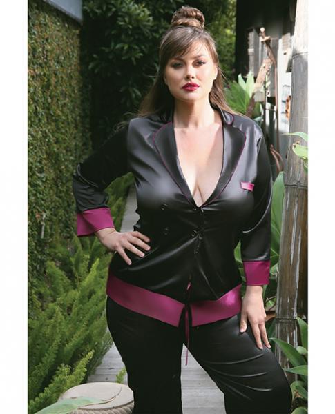 Premiere Marjorie Contrast Cuff Satin Blazer Jacket Black Berry 1X/2X