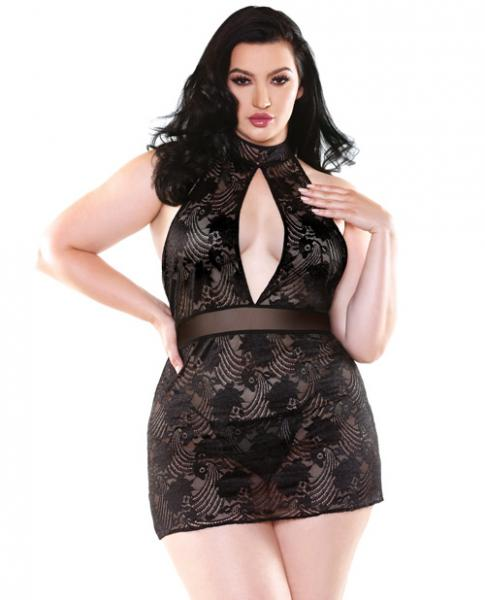 Selena High Neck Floral Lace Dress and G-String Black 3X/4X