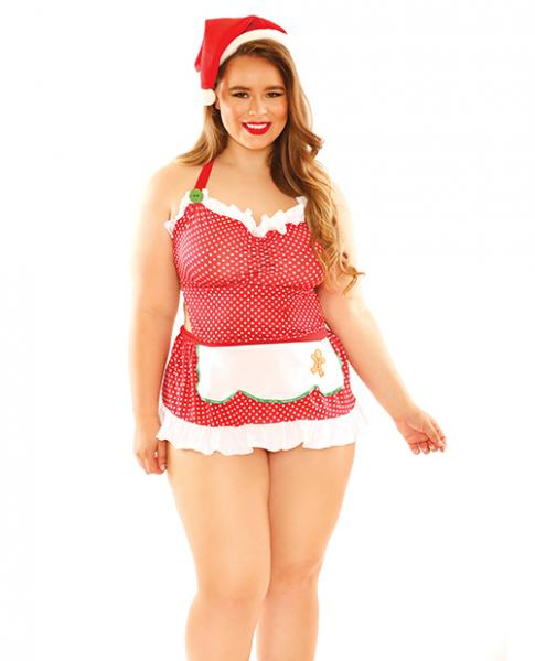 Curve Baked With Love Holiday Costume Red White 1X/2X