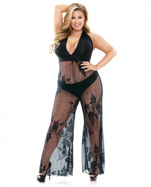 Nicki Lace Halter Jumpsuit Black 1X/2X