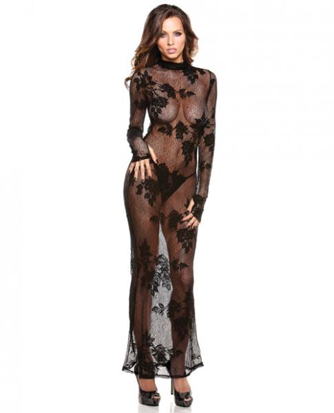 Tease Genevieve Floral Lace Gown & G-String Black XL